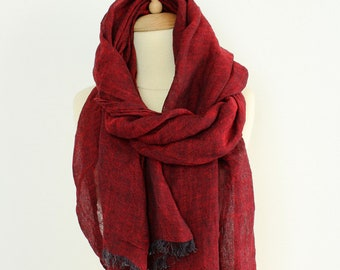 Dark Red Linen Scarf for Men & Women   Burgundy Red Pure Linen Scarf - Natural Organic Flax Shawl   Birthday Gift for him / her #EtsyGifts