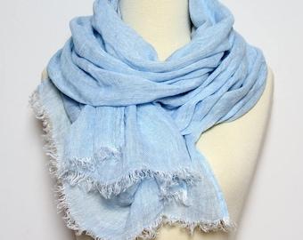 Blue 100% Linen Scarf/ Natural Men's Scarf/ Women's Scarf Linen/ Large Long Sky Blue Flax Scarves/ Light Blue Shawl/ Boyfriend Gift for Him