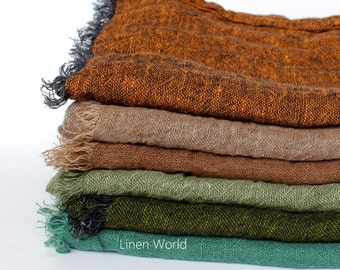 100%  Linen Scarf / Women's / Men's Scarves / Pure Natural Linen Flax Lightweight Raw Genuine / Fashion Accessories Gifts for Her/ Him