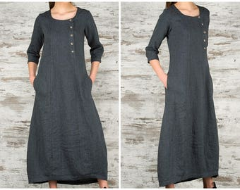 af55df38b47 Dark Grey Long Linen Dress   100% Pure Linen Loose Fitting Dress with  Pockets