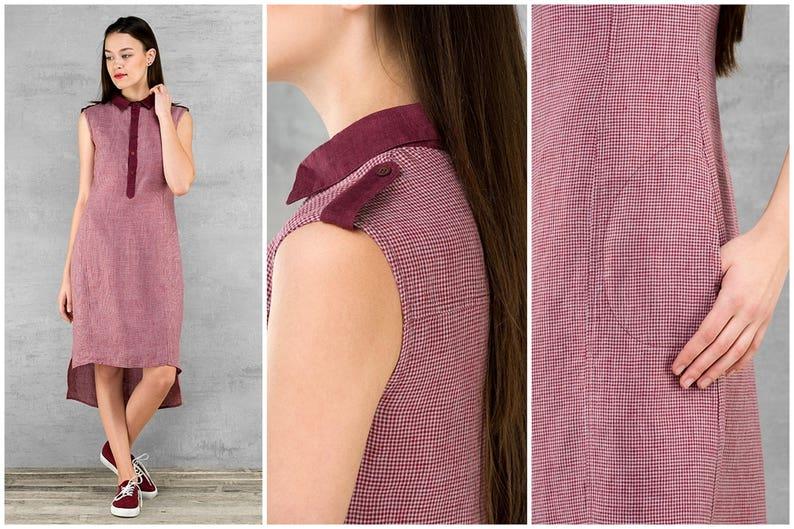 buttons Womens Linen Clothing Burgundy Red and Dark Blue Flax Linen Sleeveless Summer Dresses pockets 100/% Linen Dress Knee-length