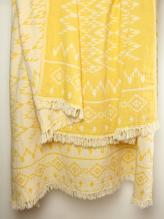 Yellow Throw Blanket Bohemian Picnic Blanket Navajo Sofa Etsy Adorable Peach Colored Throw Blanket