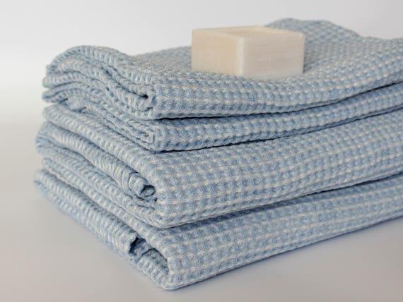 Blue Linen Bath Towels Waffle Weave Bathroom Towel Organic Hooded Bath Towel Soft Linen Cotton Towels Bath Sheet Powder Blue Color