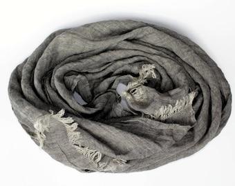 Grey Linen Scarf. 100% Linen Mens Scarf. Pure Linen Womans Scarf. Lightweight Long Large Natural Flax Scarf Dark Grey. Gift Him Boyfriend