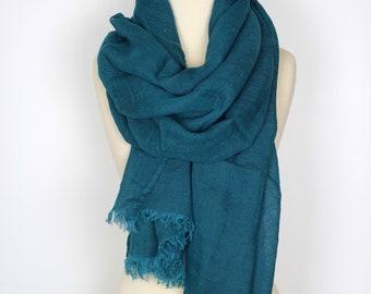 Blue Linen Scarf | Large Teal Blue Pure Linen Scarf | Unisex Natural Flax Linen Scarves & Shawls | Organic Gauze Linen Wrap | Gift ideas