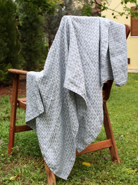 Pure Linen Bath Towel Grey Patterned 100 Linen Bathroom Face Etsy
