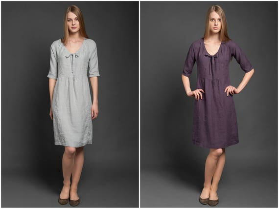 Dress Flax Dress Dresses Linen Pure Fit Linen 100 Grey Knee Length Women's Dress Loose XXL Clothing Summer Midi Sizes Plus Linen ABO6q5