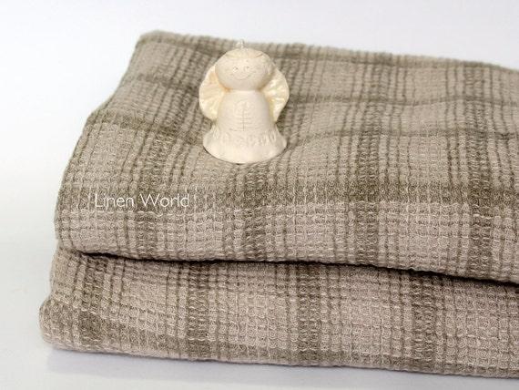 Linen Bath Towel 100 Linen Waffle Weave Bath Towel Checkered Bath Sheet Organic Natural Sauna Yoga Towel