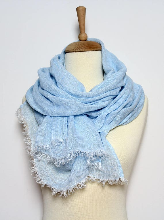 Bleu 100 % lin écharpe   naturel écharpe hommes   femmes   Etsy 07dfd677638
