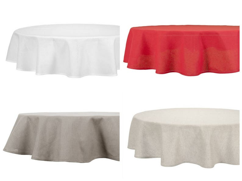 Oval / Round Linen Tablecloth | Grey * White * Red Linen Cotton Table Cloth  | Hemstitched Piping Hem Border | Natural Lithuanian Flax Linen