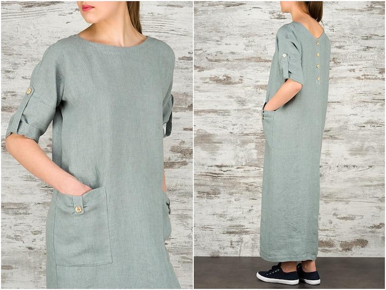 5e580906a6 Sukienki Maxi len dla kobiet Long lniane sukienka letnia luźna