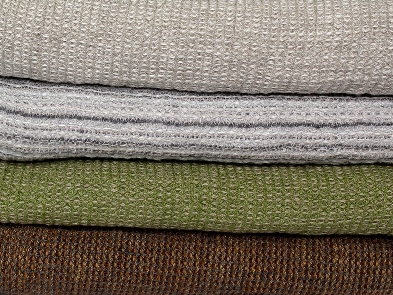 Waffle Linen Bath Towels In Natural Grey 100 Natural Linen Etsy