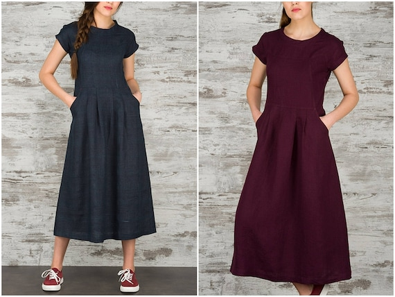 Long Linen Dress * Maxi Dresses for Women * Summer Dress with Pockets * Pure Linen Womens Clothing * 100% Flax Linen Clothes * Purple * Blue