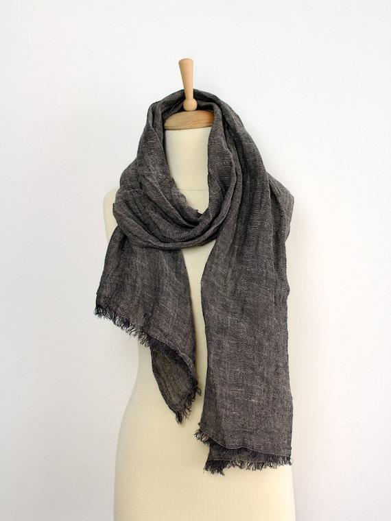 Noir foulard en lin pour homme Charbon de bois gris 100 %   Etsy 4624b70655c