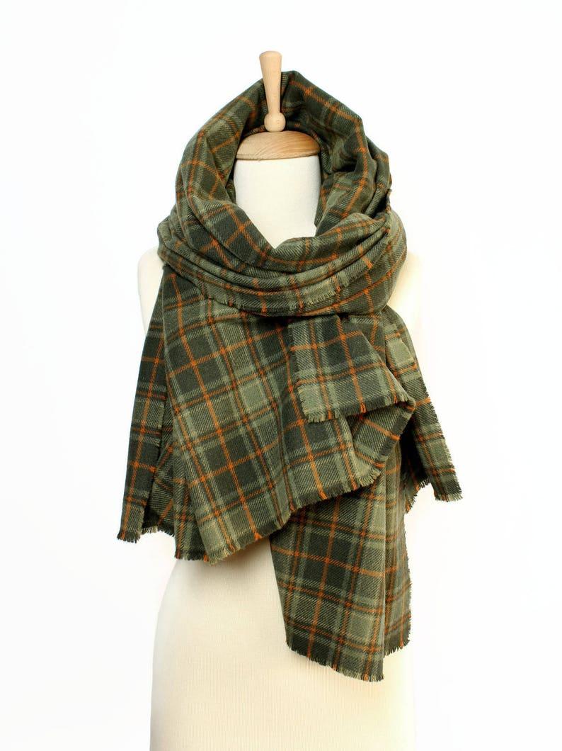 Grande sciarpa per uomo e donna Green Plaid scialle di lana  275bcac9502c