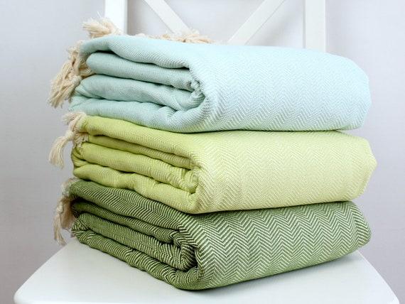 Natürliche Baumwolle Bettdecke Fischgrat-Muster große Decke | Etsy