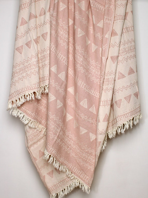 Rose Throw Blanket Dusty Pink Blanket Geometric Ornaments Etsy Impressive Pale Pink Throw Blanket