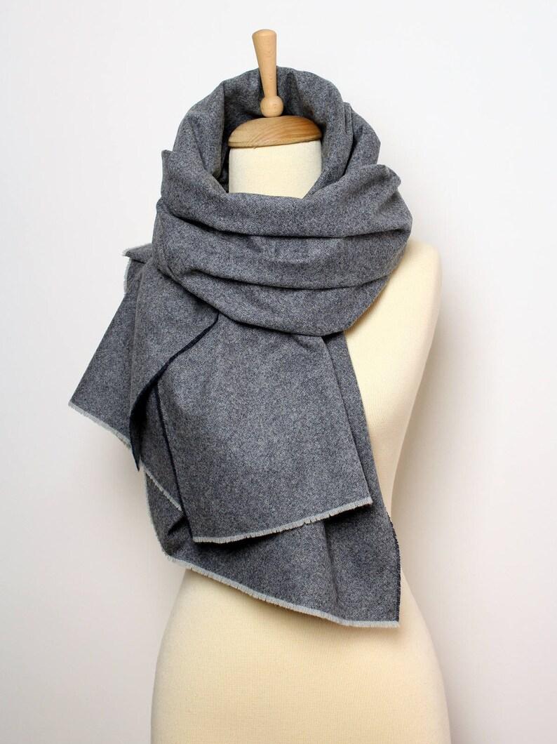 d42436cdde3 Couverture de laine bleue châle écharpe laine Tweed tissé