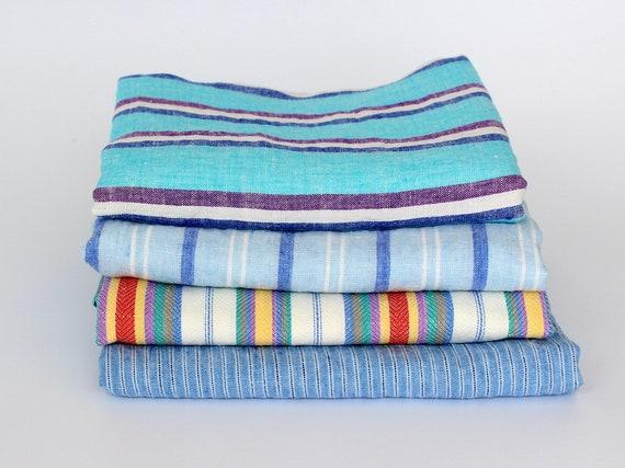 Large Linen Beach Towels Striped Flax Linen Bath Towels Etsy