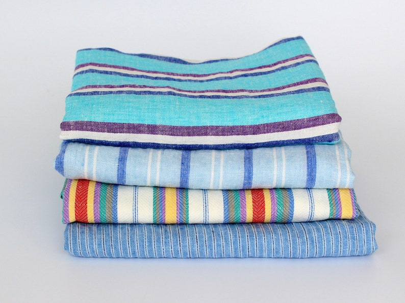 Large Linen Beach Towels Striped Flax Linen Bath Towels Etsy