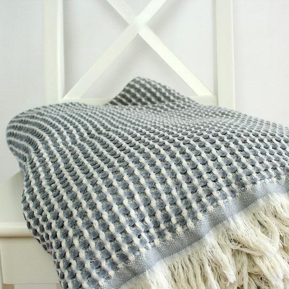 Waffel Muster Werfen Decke Bio Waffel Decke Mint Senf Etsy