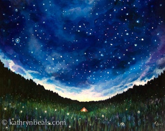 Night Sky Painting, Tent Under Stars - Canvas Print Landscape Painting