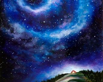Night Sky Landscape Painting - Canvas Print