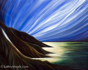 Mountains and Sky Landscape Painting - Photo Print