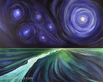Surreal Landscape Painting of Stars over a River -  Photo Print