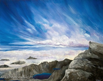 Sierra Mountains and Alpine Lakes, California Landscape Painting - Photo Print