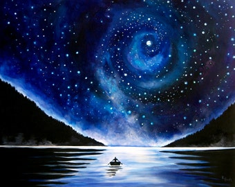 Night Sky Painting with Rowboat - British Columbia Landscape Photo Print