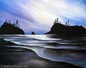 Vancouver Island Sunset Landscape Painting - Photo Print