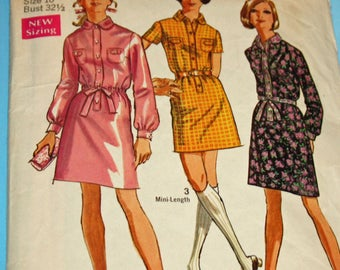Simplicity 8386, Vintage, 1960s, Sewing Pattern, Dress in 2 Lengths, Misses' Size 10, 1960s Pattern, OLD2NEWMEMORIES