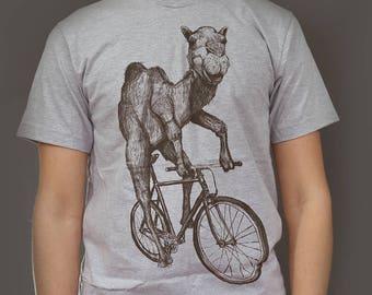 Mens Camel T Shirt - Camel on a Bike