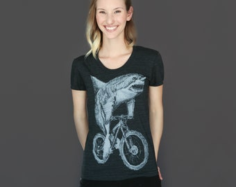 babe9820 Great White Shark on a Bicycle - Womens T Shirt, Ladies Tee, Tri Blend,  Handmade graphic tee, size s-xL, Best Selling Item, Gift Idea
