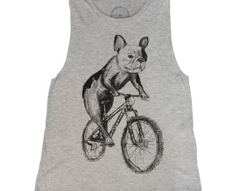 7bbc1873 Frenchie, French Bulldog on a Bike - Womens Muscle Tank - Heather Grey -  Ready to Ship - Dog Shirt - Best Selling Item
