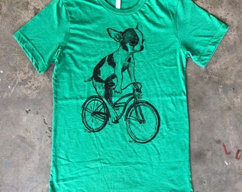 3a8b8aba Chihuahua on a Bicycle - Mens T Shirt, Unisex Tee, Poly Cotton Blend Tee,  Handmade graphic tee, Bicycle shirt, Bike Tee, sizes xs-xxl