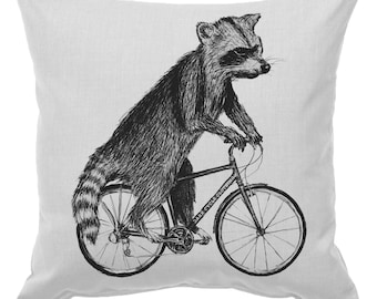 Expedited Raccoon on a Bicycle - Throw Pillow
