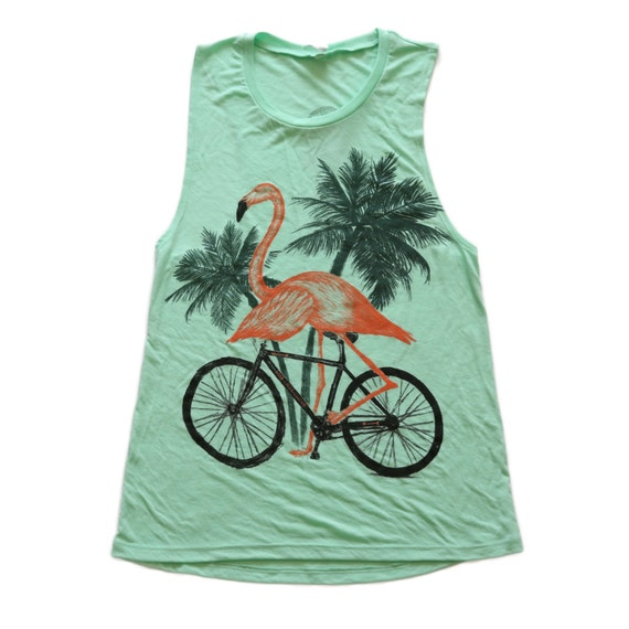 d9958038e497c Flamingo on a bicycle Womens Muscle tank Ladies Tank