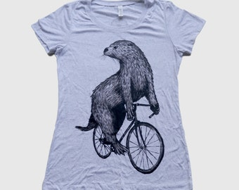 Otter on a Bicycle - Womens T Shirt, Ladies Tee, Tri Blend Tee, Handmade graphic tee, sizes s-xL