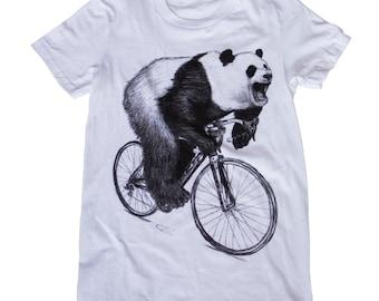 Panda on a Bicycle - Womens T Shirt, Ladies Tee, Tri Blend Tee, Handmade graphic tee, sizes s-xL