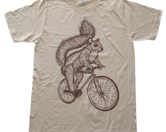 Squirrel on a Bicycle - Mens T Shirt, Unisex Tee, Cotton Tee, Handmade graphic tee, Bicycle shirt, Bike Tee, sizes xs-xxl
