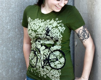 Pin Up Girl with Gas Mask on Bike Tshirt - Olive Green Ladies American Apparel Shirt - Complimentary Shipping - Available in s, m, l and xl