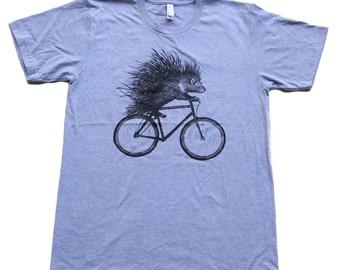Flamingo on a bicycle- Mens T Shirt, Unisex Tee, Cotton Tee, Handmade graphic tee, Bicycle shirt, Bike Tee, sizes xs-xxl
