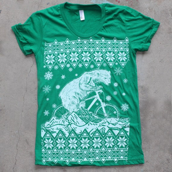 Clearance Ugly Christmas Sweater Polar Bear On A Bike Shirt Etsy