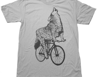 Wolf on a bicycle - Mens T Shirt, Unisex Tee, Cotton Tee, Handmade graphic tee, Bicycle shirt, Bike Tee, sizes xs-xxl