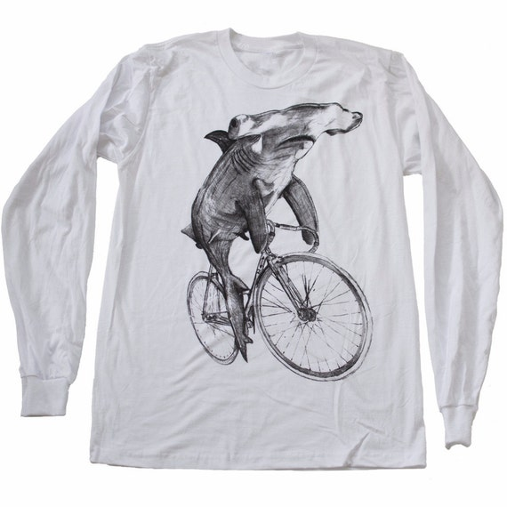 8f5cff0f67d498 Hammerhead on a Bike Mens Long Sleeve T Shirt Unisex Tee
