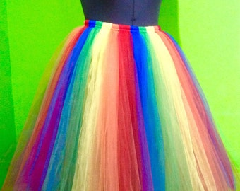 """Rainbow Tutu,Neon Tutu,Fully lined Sewn in Tutu skirt 30"""" length  customize your size priority shipping CHOOSE YOUR COLOR"""