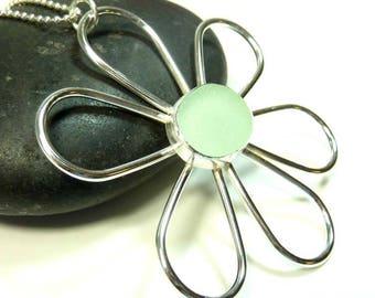 Sea Glass Flower Pendant