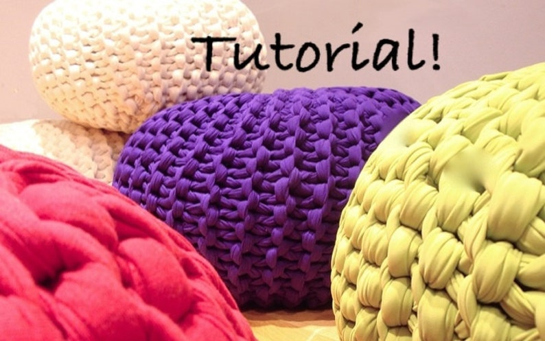 The Super Chunk Knitted Pouf Pattern  Downloadable PDF image 0